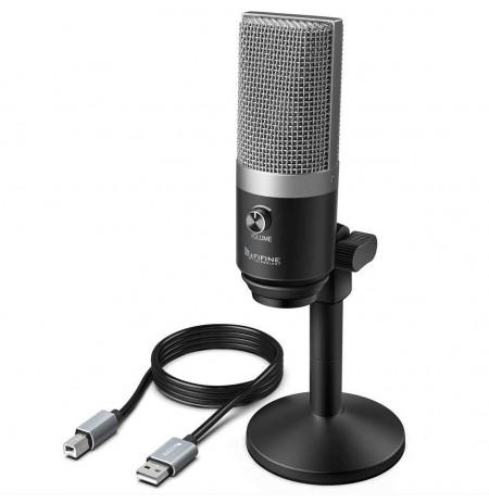 FIFINE K670 sudraba kondensatora mikrofons | USB