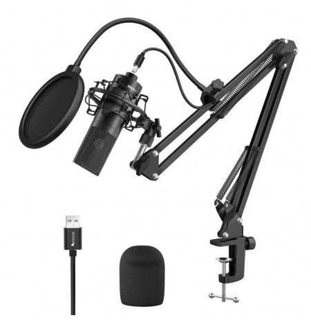 FIFINE K780A melns kondensatora mikrofons ar vadu + turētājs  USB