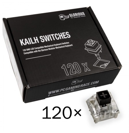 Glorious PC Gaming Race Kailh Box Black pogas | Linear & Silent (120 gab.)