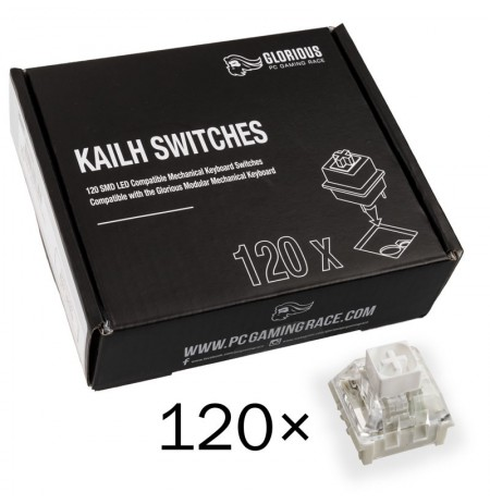 Glorious PC Gaming Race Kailh Box White pogas | Tactile & Clicky (120 gab.)
