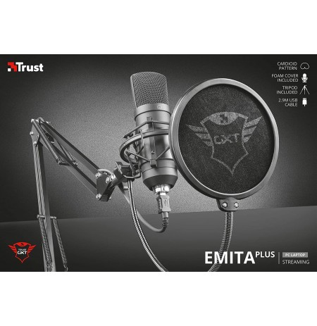 TRUST GXT 252+ Emita Plus mikrofons ar vadu + turētājs | USB