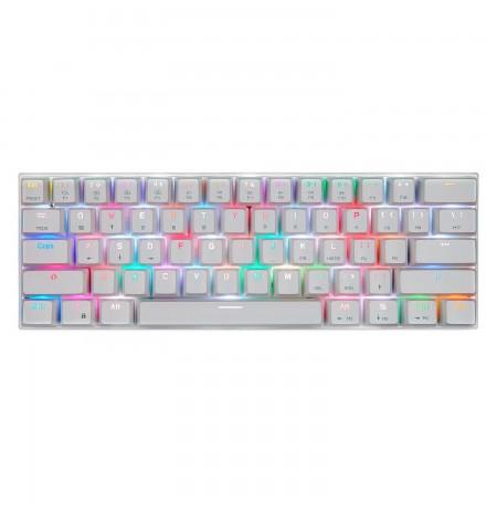 MOTOSPEED CK62 balta bezvadu 60% mehāniskā klaviatūra ar RGB