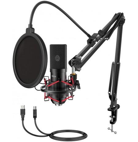 FIFINE T732 melns kondensatora mikrofons ar vadu + turētājs| USB