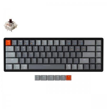 Keychron K6 mehāniskā 65% tastatūra (bezvadu, alumīnija rāmis, RGB, Hot-swap, US, Gateron Brown)