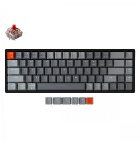 Keychron K6 mehāniskā 65% tastatūra (bezvadu, alumīnija rāmis, RGB, Hot-swap, US, Gateron Red)