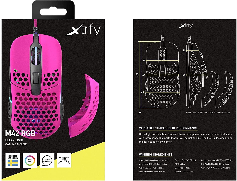 Xtrfy M42 Rozā optiskā vadu pele | 16000 CPI