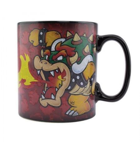 Nintendo Super Marios Bowser XL Mug   Reaguojantis į Karštį 550ml