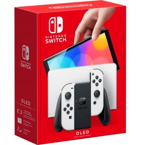 Nintendo Switch OLED konsole (ar balta Joy-Con)