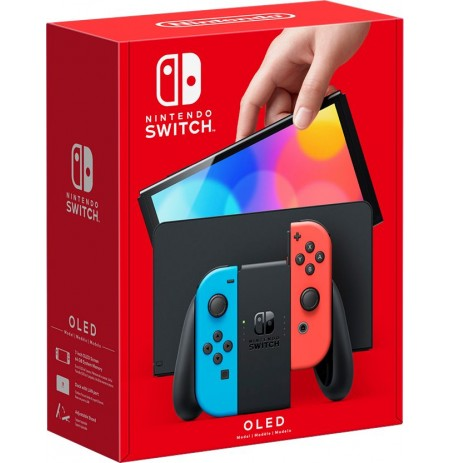 Nintendo Switch OLED console (with Neon Red and Neon Blue Joy-Con)