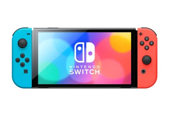 Nintendo Switch OLED konsole (ar Neon Red un Neon Blue Joy-Con)