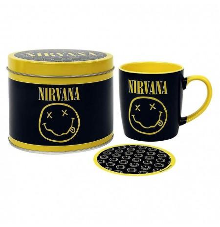 Nirvana (Smiley) Mug & Coaster In Tin