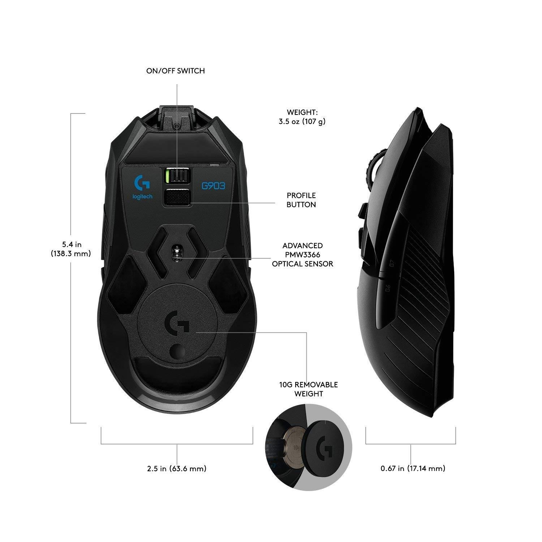 LOGITECH G903 LIGHTSPEED EWR2 bezvadu optiskā pele | 25600 DPI