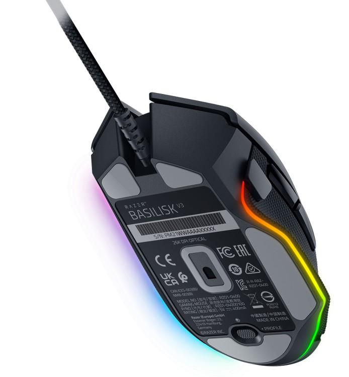 RAZER Basilisk V3 melna spēļu optiskā pele ar vadu   26000 DPI